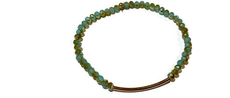 green/gold bead bracelet