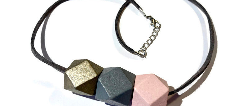 gold / grey / pale pink geometric bead necklace