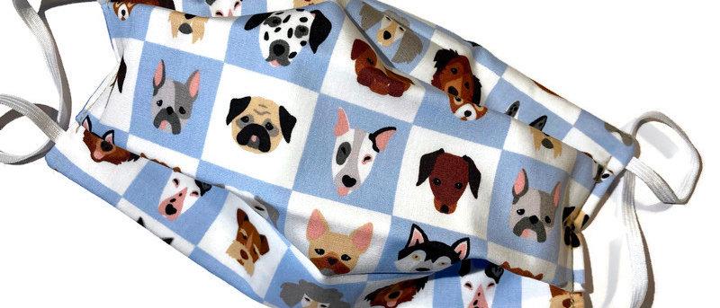 dog squares / pale blue polka dot - x-large