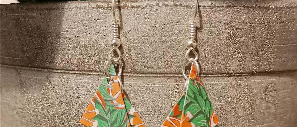 tropical orange recycled earrings