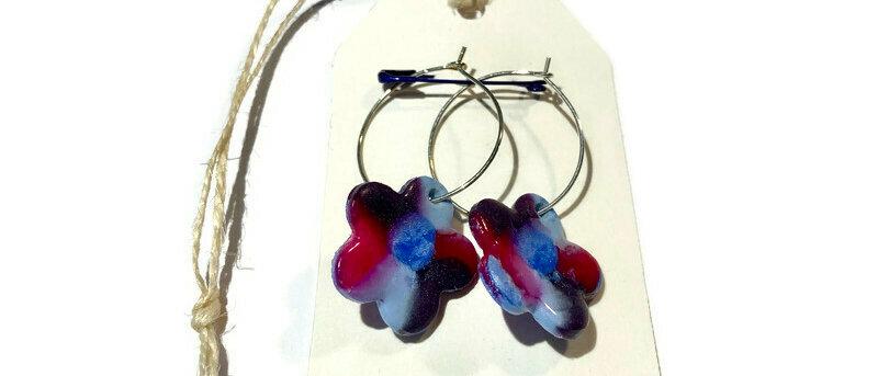 glitter blue / purple / pink mix flower clay earrings