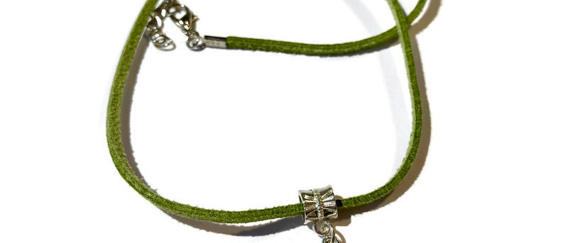 leaf green leather dragonfly charm necklace