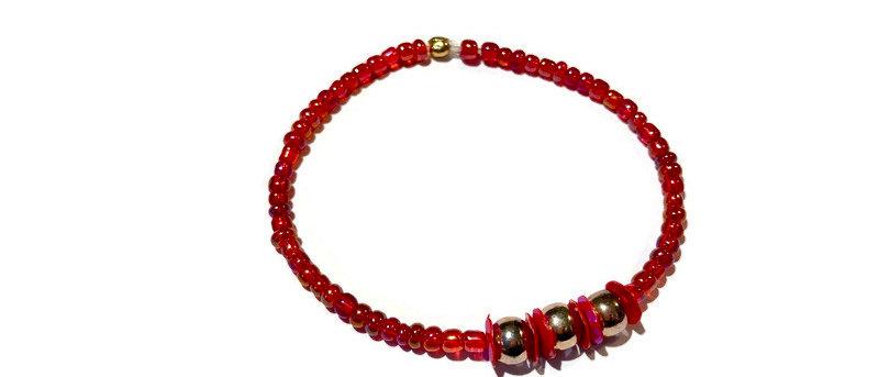red / gold bead bracelet
