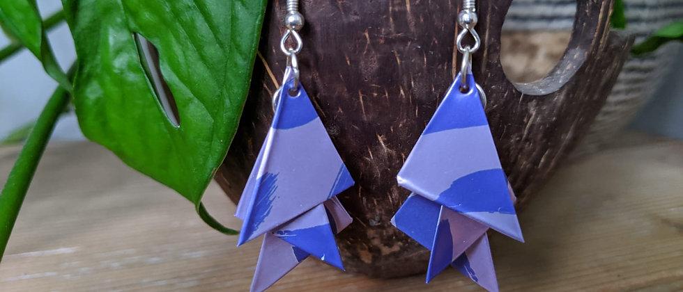 blue hue recycled earrings