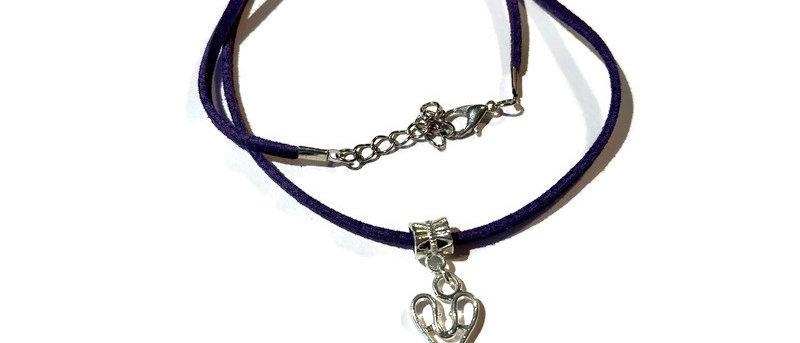 purple leather scissors charm necklace