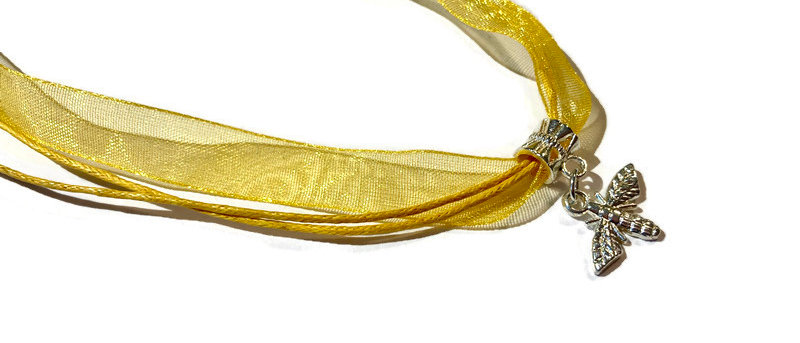 yellow ribbon / cord bee charm necklace