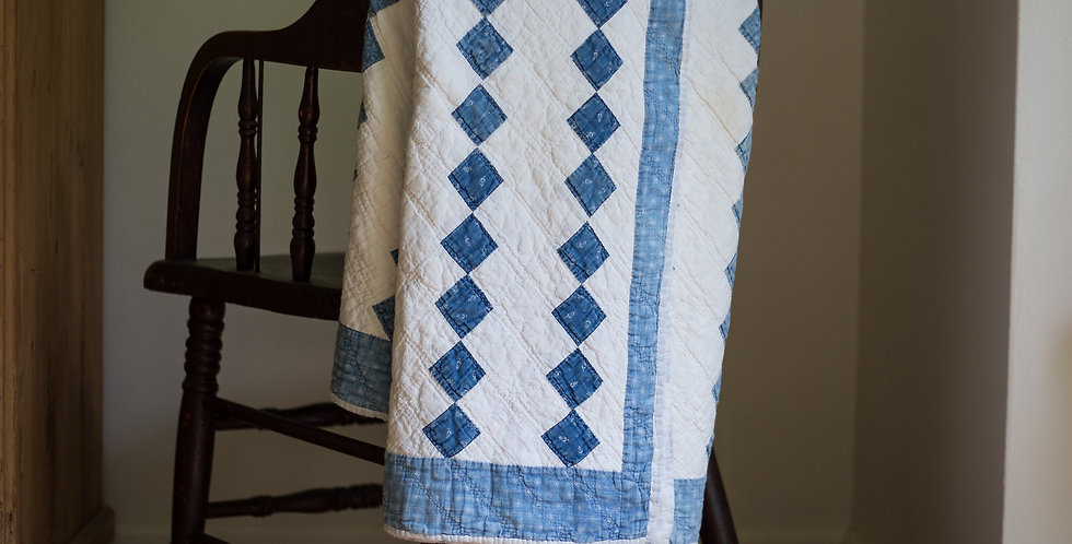 vintage blue and white hand stitched quilt