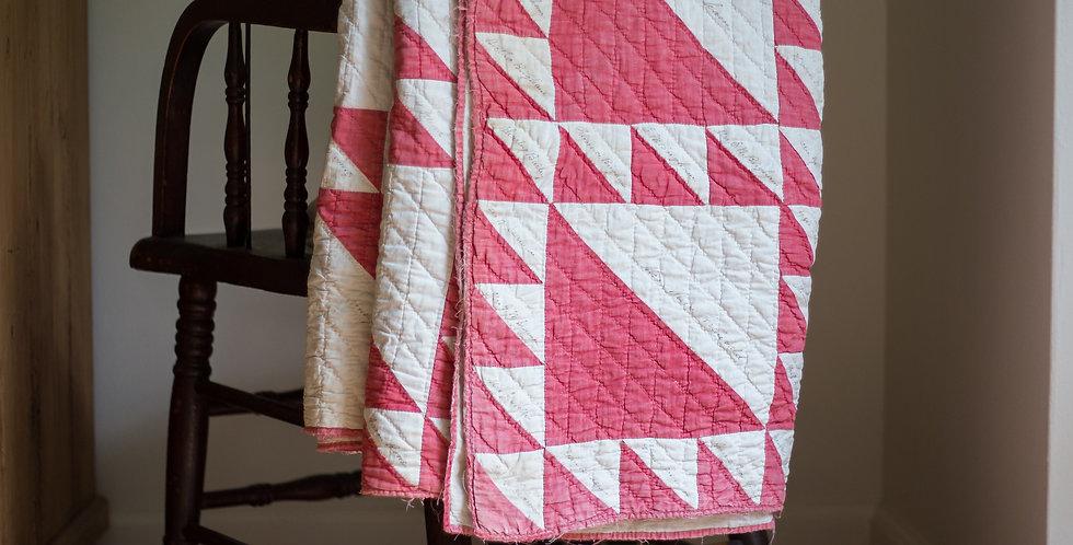vintage red hand stitched quilt