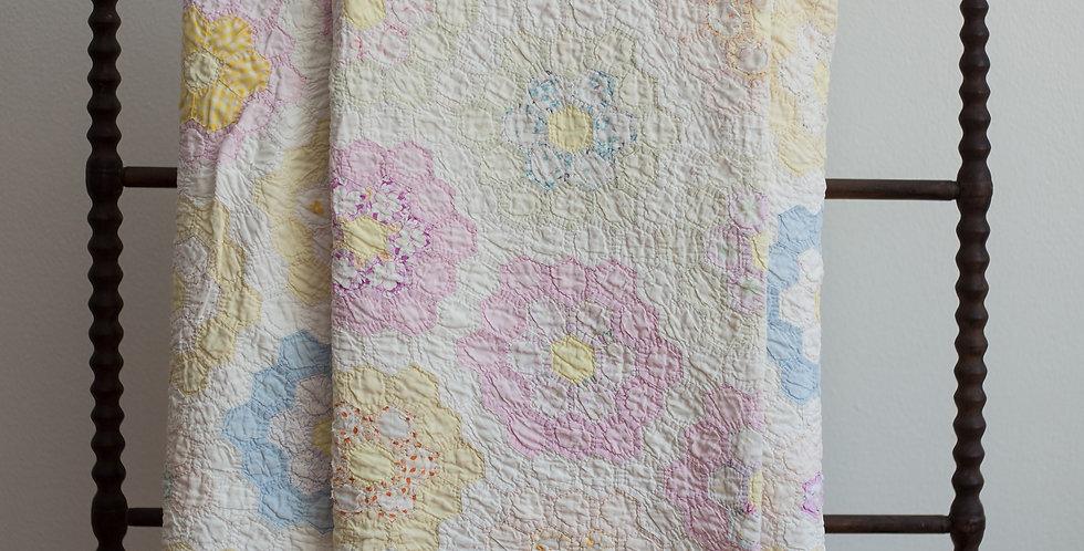 vintage hand stitched floral quilt