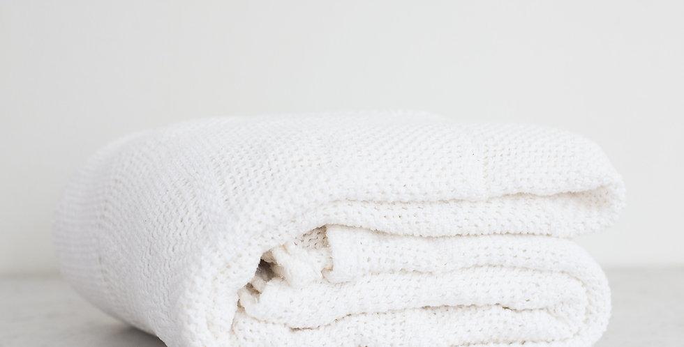 vintage 100% cotton weave blanket | white
