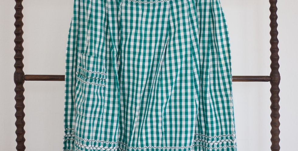 vintage classic check green apron