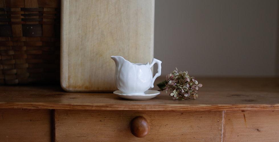 antique ironstone creamer +plate