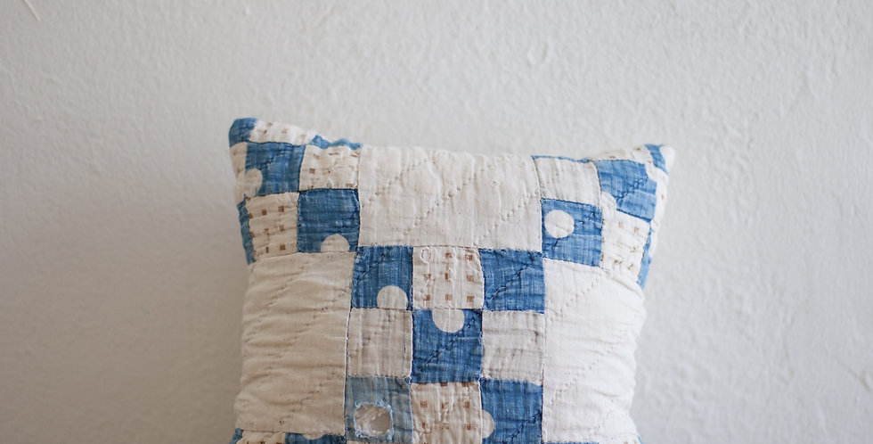 vintage hand stitched quilted pillow