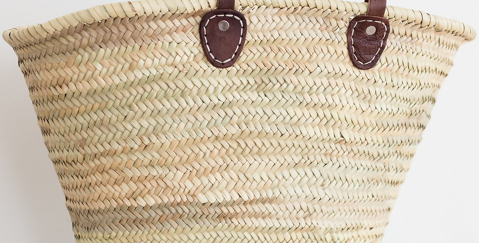 seagrass + leather french market basket