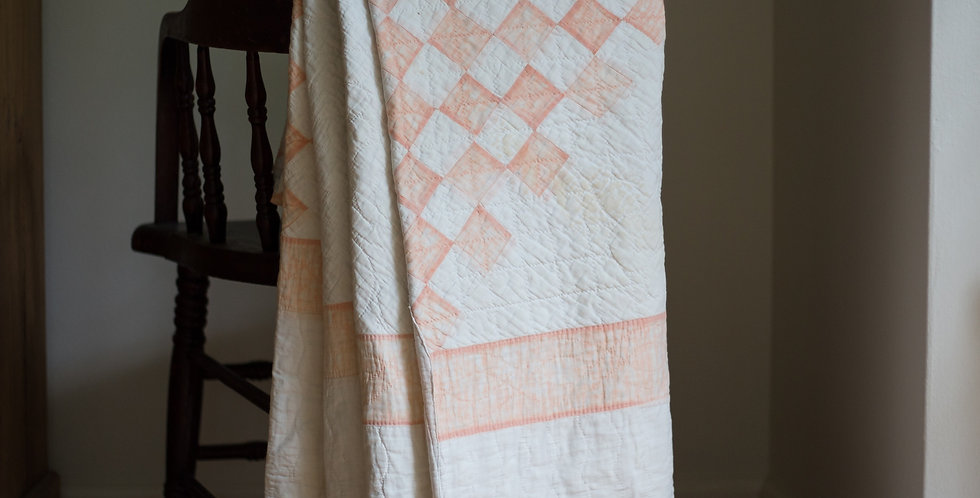 vintage peach hand stitched quilt