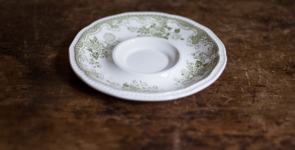 antique ironstone candle plate