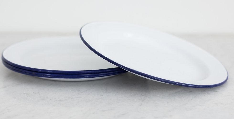 vintage enamel plates   set of 4