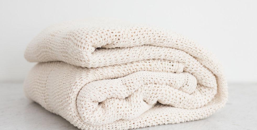 vintage 100% cotton weave blanket | beige
