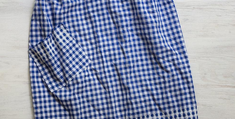 vintage blue checked apron