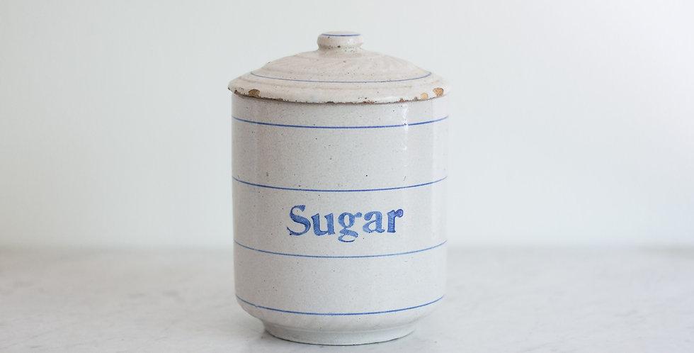 primitive stoneware sugar canister