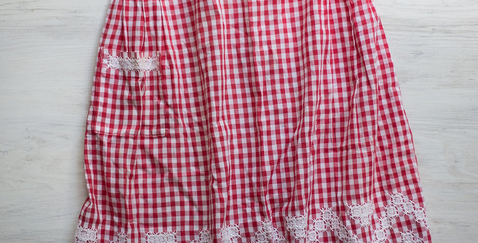 vintage red checked apron
