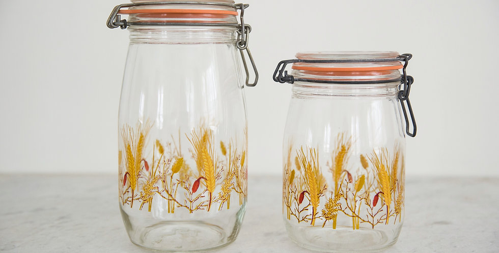 set of 2 wheat glass canisters