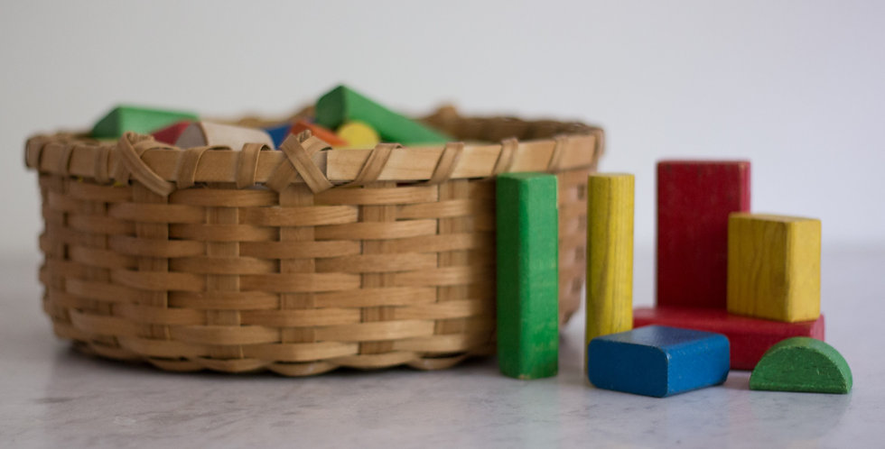 vintage multicolored blocks set of 40