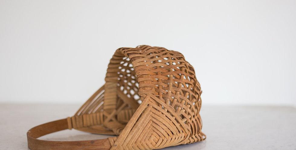 handwoven basket with handle