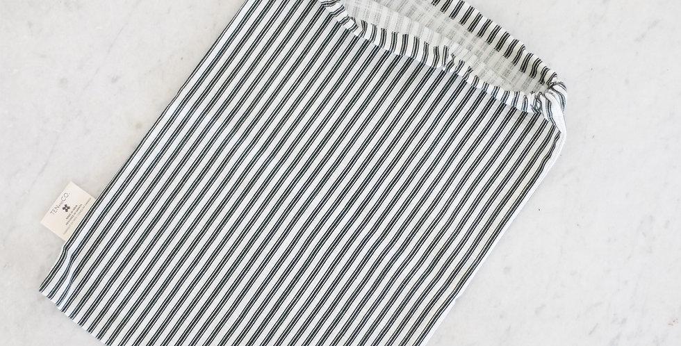 ticking reusable drawstring bag