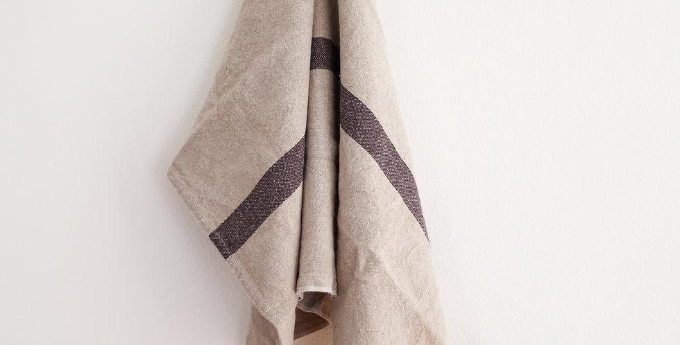 french tea towel | linen + black stripe
