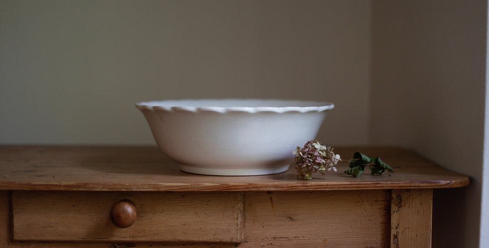 antique ironstone scalloped bowl