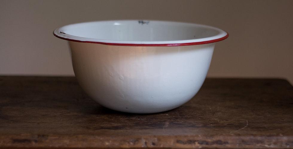vintage enamelware red bowl