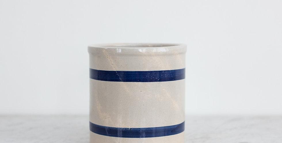 vintage striped crock