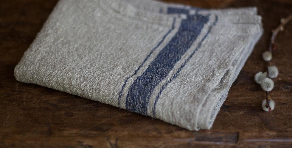 100% European linen blue stripe towel