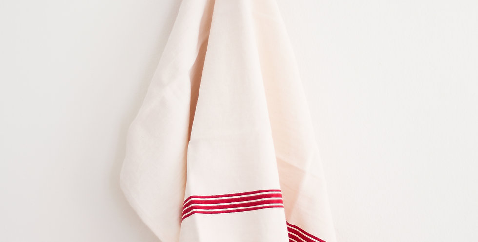 french tea towel | linen + red piano stripe