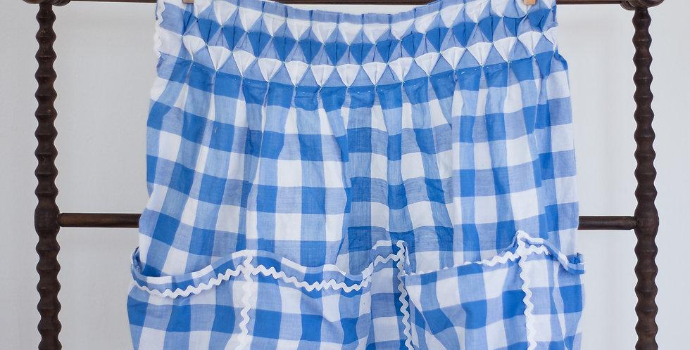vintage classic check blue apron