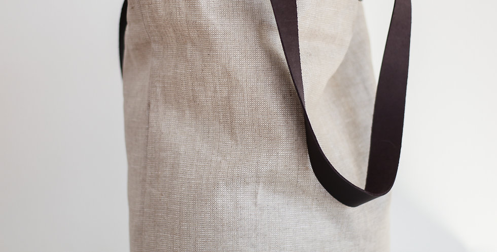 french linen bag with leather handles