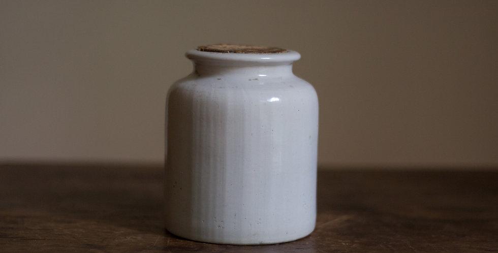 vintage stoneware mustard jar