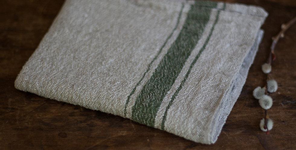 100% European linen green stripe towel