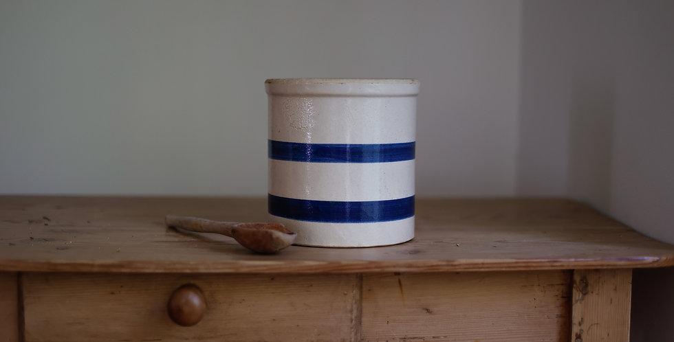 vintage striped stoneware crock
