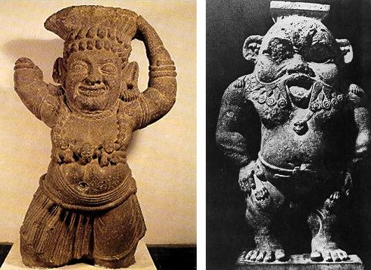 Indian Yaksha (dwarf) and Egyptian Bes, depicted as a deformed dwarf.