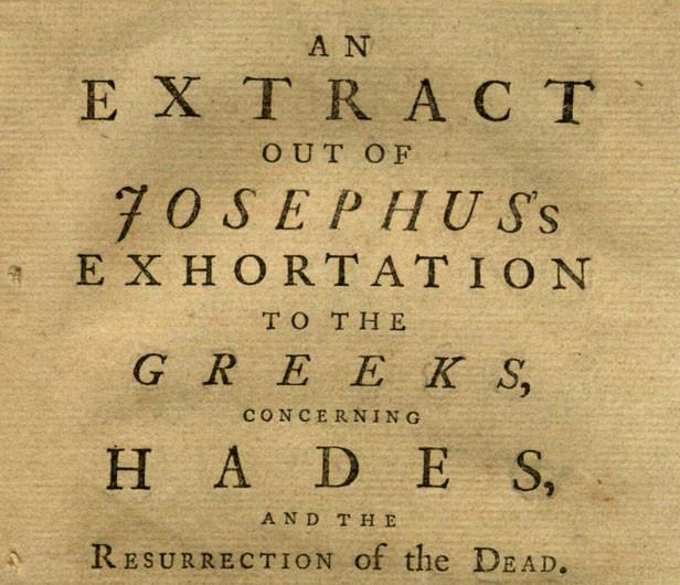 josephus's exhortation to the greeks concerning hades