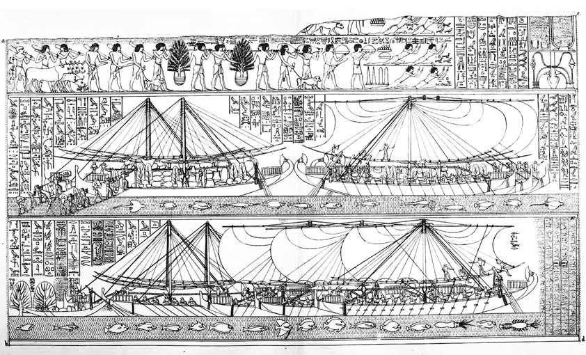 Egyptian boats arriving at Punt
