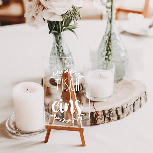 » Tischnummer Blätter « Aufkleber