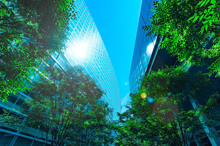 Office building and green, business conc
