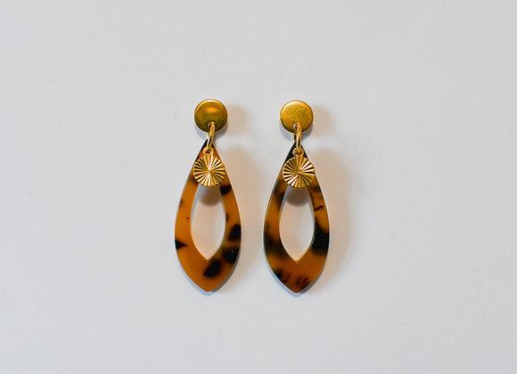 Boucles d'oreilles pièce unique, en acier inoxydable doré, 43mm