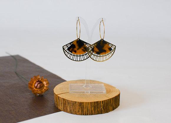 Boucles d'oreilles pièce unique, en acier inoxydable doré, 55mm