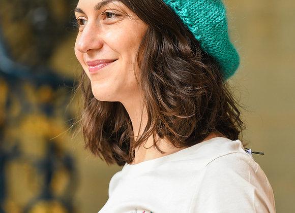 Béret tricoté avec amour, 100% alpaga, taille unique