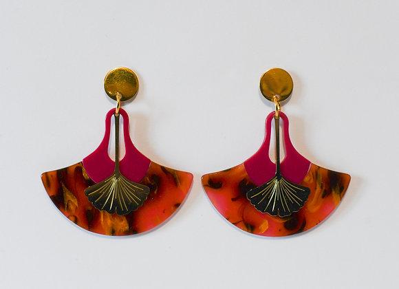 Boucles d'oreilles pièces uniques, en acier inoxydable doré, 57mm