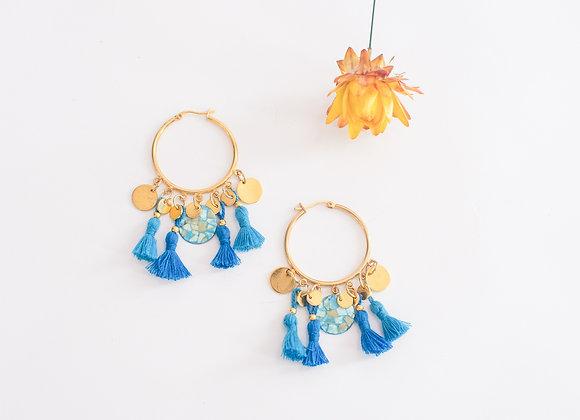 """Boucles d'oreilles """"Créoles colorées"""", pièces uniques, 65mm"""